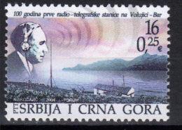 Yugoslavia,100 Years Of First Radio Telegraph Station On Volujci-Bar 2004.,MNH - 1992-2003 Federal Republic Of Yugoslavia
