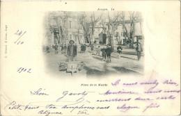 CPA 83 AUPS PLACE DE LA MAIRIE  1902 BELLE ANIMATION - Aups