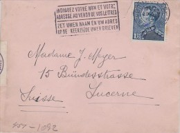 Belgium; Censored Cover To Switzerland 1940 - Bélgica