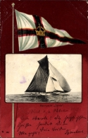 Passepartout Cp Rennyacht Senta, Segelyacht, Wehende Fahne - Cartes Postales