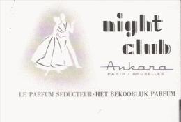 CARTE PARFUMEE ANCINNE NIGHT CLUB D'ANKARA PARIS BRUXELLES - Perfume Cards