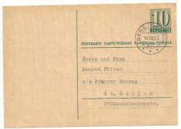 Schweiz Ganzsache GS 10 Cts. Rappen 14.VIII.53 Von Berg Nach St. Gallen - Entiers Postaux