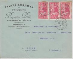G7 France Frankreich Francia 1924 lettre de Barbentane Jeux Olympique Olympia bande de 3, centre tr�s d�plac� au tarif!!