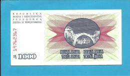 BOSNIA & HERZEGIVINA - 1000 DINARA - 1992 - Pick 15 - UNC. -  Prefix JA - Narodna Banka Bosne I Hercegovine - Bosnia And Herzegovina