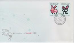 Christmas Island FDC Mi 689-690 Lunar New Year - Year Of The Rabbit - 2011 - Christmaseiland
