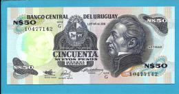URUGUAY - 50 Nuevos Pesos - ND 1989 - Pick 61A - UNC. -  Serie G - J. G. ARTIGAS - 2 Scans - Uruguay