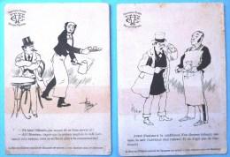 Rare Lot 2x Litho Art Nouveau Illustrateur GUILLAUME PUBLICITE DE SERIE CANTENAT CAFE CHOCOLAT DOS DETAILS VENTE - Alimentaire