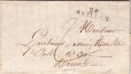 EURE 1825 LAC ECRITE DE VILLERS-SUR-LE-ROULE. MP 26 GAILLON POUR ROUEN. TAXE PLUME 2.  / ROUGE III- 1 - 1801-1848: Precursores XIX
