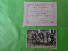 Les Felicitations -college De Barbezieux -1935  Avec La Photo De L'eleve Sur  La Photo Ou????MASSE A - Diplômes & Bulletins Scolaires
