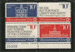 USA. Bi-centenaire De L´Independance Américaine (Déclaration D´Independance) Bloc De 4 T-p Neufs ** - Indépendance USA