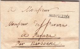HERAULT 1771 LAC MP MONPELLIER LE NAIN N°8 TAXE PLUME 4 POUR PARAZA  / ROUGE III- 9 - Marcofilia (sobres)