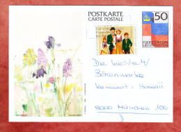 P 85 Landesflagge Abb: Riedblumen Knabenkraut + ZF, Vaduz Nach Muenchen 1988 (78188) - Ganzsachen