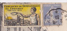 """Vignette """"Concours De Gymnastique Du Creusot (71) 7-8-9 Juin 1930, Circulé Sur CP De Pierrefitte (58) Rue De Paris - Commemorative Labels"""
