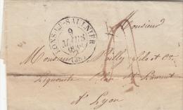 JURA 1838 LAC ÉCRITE DE RUFFEY. T13 LON-LE-SAUNIER TAXE PLUME 4 POUR LYON    / ROUGE III- 14 - 1801-1848: Precursores XIX