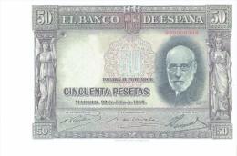 SPAIN 1935- REPLICA - REPRODUCCION  - SANTIAGO RAMON Y CAJAL PATHOLOGIST  BILL OF 50 PTAS ISSUED JUL 22,1935 RE 57/2PERF - [ 8] Fakes & Specimens