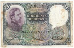 Spain - 1931 - 50 Pesetas - P82  - Fine - [ 1] …-1931 : First Banknotes (Banco De España)