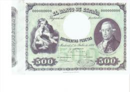 SPAIN 1884- REPLICA - REPRODUCCION  - CONDE DE FLORIDABLANCA - POLITICIAN-BILL OF 500 PTAS ISSUED JUL 1,1884 RE 101/2PER - [ 8] Ficticios & Especimenes