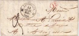 LANDES 1839 LAC ÉCRITE DE YCHOUX T12 LIPOSTHEY Id. ROUGE TAXE PLUME 3 POUR TARTAS   / ROUGE III- 15 - Marcophilie (Lettres)