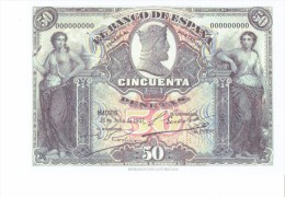 SPAIN 1907- REPLICA - REPRODUCCION  - CATEDRAL DE BURGOS - CABEZAS-BILL OF 50 PTAS ISSUED JUL 15,1907 RE 79/2PERFECT - [ 8] Specimen