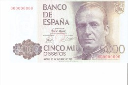 SPAIN 1979- REPLICA - REPRODUCCION  - JOAN CARLOS I ROYAL PALACE MADRID -BILL OF 5000 PTAS ISSUED OCT 23,1979 RE 11/3 PE - [ 8] Fakes & Specimens