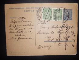 Pologne Carte De Nikiszowiec 1931 Pour Erfurt (un Plis ) - 1919-1939 Republic