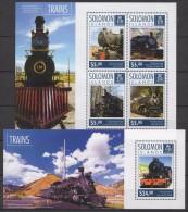 Solomon Islands (2014) - Set + Block -   /  Tren - Train - Trains - Railways - Eisenbahn - Locomotives - Tram