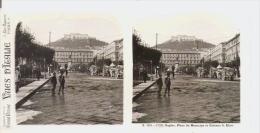 VUES D'ITALIE 153.1728 NAPLES PLACE DU MUNICIPE ET CHATEAU S ELME (PHOTO STEREOSCOPIQUE) - Stereoscopic