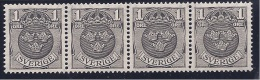 Sweden1911-19: Michel95 Strip Of 4 - Neufs