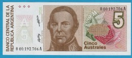 ARGENTINA 5 Australes ND (1985-1989) SERIE A P# 324b   UNC   Justo José De Urquiza - Argentine