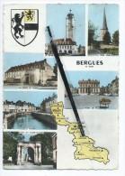 CPM - Bergues - Le Beffroi - La Porte De Bierne - La Colme - Porte Du Champ De Mars - L'Hôtel De Ville - Bergues