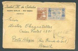 URUGUAY To BRAZIL NUEVO BERLIN Cancel Registered Cover - Uruguay