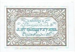 TIELT - Fabrique J.B. VANDEVYVERE - Prachtige Porceleinkaart 8,5 X 6 Cm. - Lith. BEVERNAEGE AUDENARDE - Visitenkarten