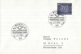 Duitsland - Erstausgabe - 7-5-1963 - 100 Jahrestag Der Ersten Internationalen Postkonferenz, Parijs - M398 - Post