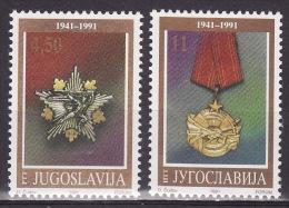 Yugoslavia 1991. 50 Years Of National Army, JNA, MNH(**) Mi 2486/87 - Neufs