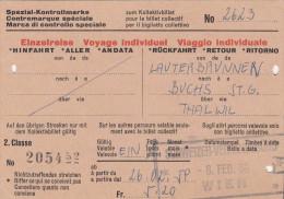 Spezial Kontrollmarke - Einzelreise, Ticket? 1959 Von Lauterbrunnen Nach Buchs über Thalwil, Stempel Wien - Biglietti Di Trasporto