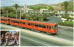 San Diego Public Transportation Electric Train, TraveLodge Motel San Ysidro CA, C1990s Vintage Postcard - Trains