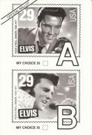 Elvis Presley Stamp Voting Ballot Old Vs. Young Elvis For Stamp Design, C1990s Vintage Postcard - Stamps (pictures)