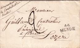 LOZERE 1826 DIRECTIVE MP 46 MENDE POUR FLORAC. ORDRE DE PARIS DE SURSEOIR AUX CONGÉS.../  / ROUGE III- 22 - 1801-1848: Precursores XIX