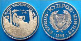 CIPRO 1  £ 1986 ARGENTO PROOF WWF WILDLIFE CYPRUS MOUFLON WILDLIFE PESO 28,28 TITOLO 0,925 CONSERVAZIONE FONDO SPECCHIO - Cipro