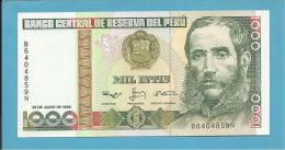 PERU - 1000 INTIS - 28.06.1988 - Pick 136.b - UNC. - MARISCAL ANDRES AVELINO CACERES - 2 Scans - Perù