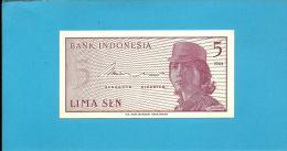 INDONESIA - 5 SEN - 1964 - P 91 - UNC. - Série AQP - Female Volunteer In Uniform - 2 Scans - Indonésie