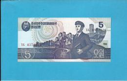 KOREA, NORTH - 5 WON - 1998 - P 40 - UNC. - 2 Scans - Corée Du Nord