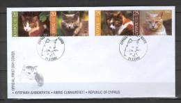 Cyprus 2002 (Vl 817-820) Cats FDC - Chypre (République)