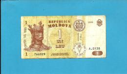 MOLDOVA - 1 LEU - 2006 - Pick 8 - Serie A.0138 - Republica - Moldova