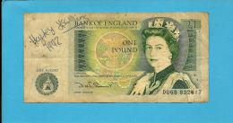 GREAT BRITAIN - 1 POUND - ND ( 1981 - 84 ) - P 377 B - Sign. D. H. F. Somerset - BANK OF ENGLAND - 2 Scans - 1952-… : Elizabeth II