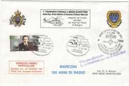 REP. DI SAN MARINO - 1995 - MARCONI, 100 Anni Di Radio - 1° Trasporto Postale A Mezzo Elicottero Dalla Rep. Di San Ma... - Elicotteri