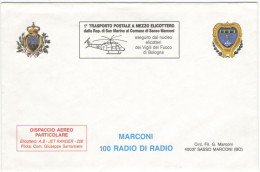 REP. DI SAN MARINO - 1995 - MARCONI, 100 Anni Di Radio - 1° Trasporto Postale A Mezzo Elicottero Dalla Rep. Di San Ma... - Celebrità