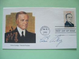 USA 1986 FDC Cover Presidents - Calvin Coolidge - Art Music - Stati Uniti