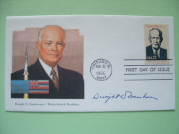 USA 1986 FDC Cover Presidents - Eisenhower - Flags Hawaii Alaska - Space - United States