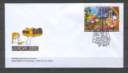 Cyprus 2005 (Vl 887A+888A) Europa - IMPERFORATE On The TOP Set From BOOKLET UNOFFICIAL FDC - Chypre (République)